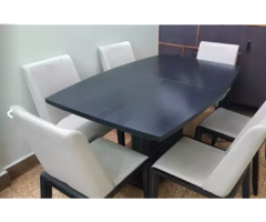 6 seater extendable dining table with 6 chairs