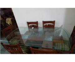 6 chair glassed dinning table