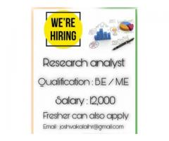 Wanted Content writer , Research analyst in nagercoil , thukalay