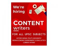 URGENTLY HIRING CONTENT WRITERS FOR ACADEMIC MATERIAL PREPARATION