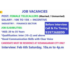 ₹ 10000 - 15000 | Monthly Female jobs for telecaller Call & Fix u r interview time