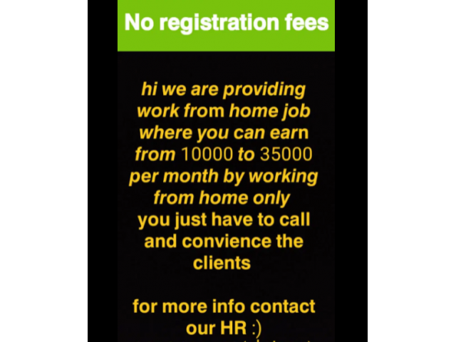 ₹ 10000 - 35000   Monthly Work from home bpo jobs