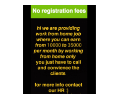 ₹ 10000 - 35000 | Monthly Work from home bpo jobs