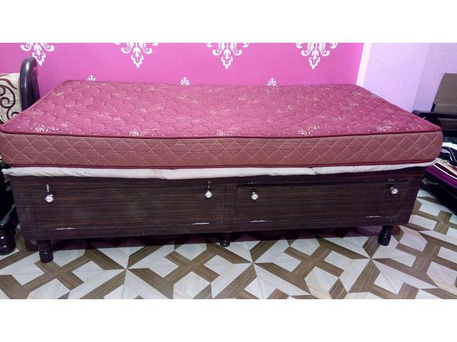 Gently Used Wooden Bed with Sleepwell Mattress